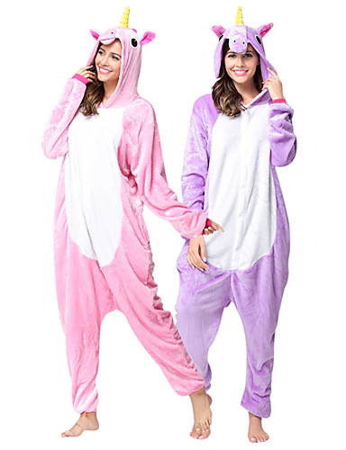 povoljno Kigurumi plišane pidžame-Odrasli Kigurumi plišana pidžama Unicorn Unicorn Onesie pidžama Flanel Flis Crn / purpurna boja / Bijela Cosplay Za Muškarci i žene Zivotinja Odjeća Za Apavanje Crtani film Festival / Praznik Kostimi