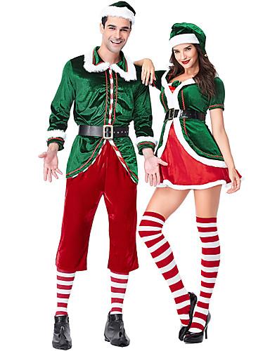 preiswerte Herrenbekleidung-Cosplay Weihnachtsmann Weihnachtskleid Erwachsene Herrn Weihnachten Fest / Feiertage Gestrickt Dunkelgrün Herrn Karneval Kostüme / Top / Hosen / Handschuhe / Gürtel / Socken