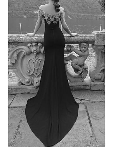 preiswerte Neu eingetroffen-Trompete / Meerjungfrau Schulterfrei Pinsel Schleppe Polyester Offener Rücken Formeller Abend Kleid mit Kristall Verzierung durch LAN TING Express