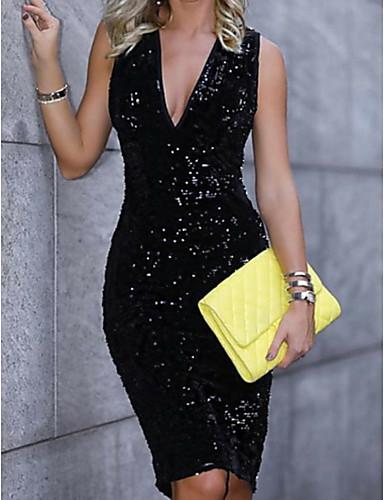 preiswerte Kleider für besondere Anlässe-Eng anliegend Tiefer Ausschnitt Knie-Länge Pailletten Kleines Schwarzes Kleid Cocktailparty Kleid mit Paillette durch LAN TING Express