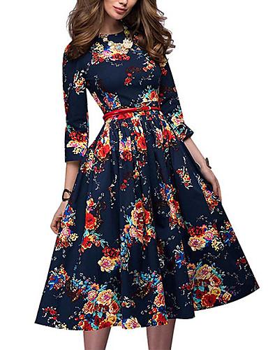 preiswerte AutumnSaleBestSellers-Damen Grundlegend A-Linie Kleid Geometrisch Midi