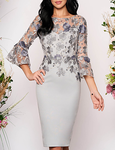 cheap Cocktail Dresses-Women's Bodycon Knee Length Dress - 3/4 Length Sleeve Floral Solid Color Lace Elegant Cocktail Party Going out Gray M L XL XXL XXXL