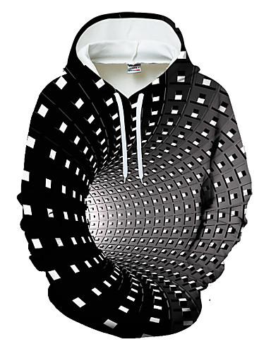 hesapli En Çok Satanlar-Erkek Günlük Kapüşonlu Giyecek Geometrik Zıt Renkli 3D Cep Sokak giyimi Kapşonlu 3D Baskılı Tema Grafik Hoodies Tişörtü Uzun Kollu Siyah Havuz Mor / Spor / Kış