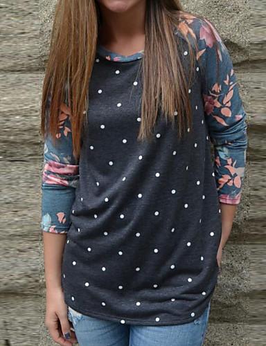billige Dametopper-T-skjorte Dame - Polkadotter / Blomstret, Lapper / Trykt mønster Grunnleggende Navyblå