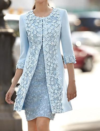 cheap Blue Dresses-Women's Two Piece Dress - Solid Colored Blue M L XL XXL