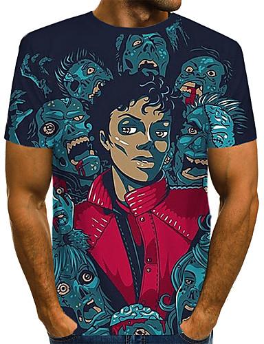 voordelige Heren T-shirts & tanktops-Heren Rock / Street chic Print T-shirt Kleurenblok / 3D / Portret Klaver