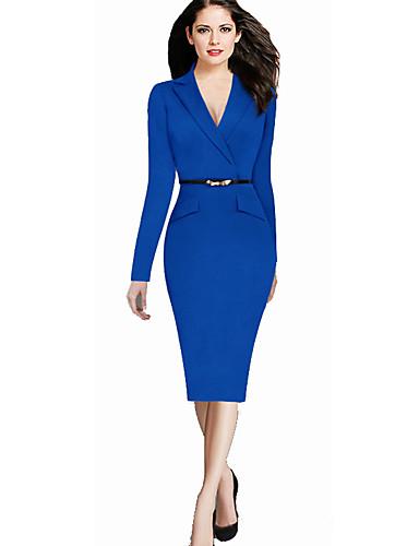 levne Pracovní šaty-Dámské Základní Elegantní Shift Pouzdro Šaty - Jednobarevné Délka ke kolenům