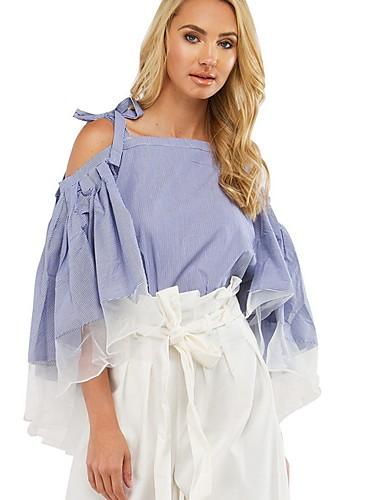 billige Skjorter til damer-Skjorte Dame - Fargeblokk Blå