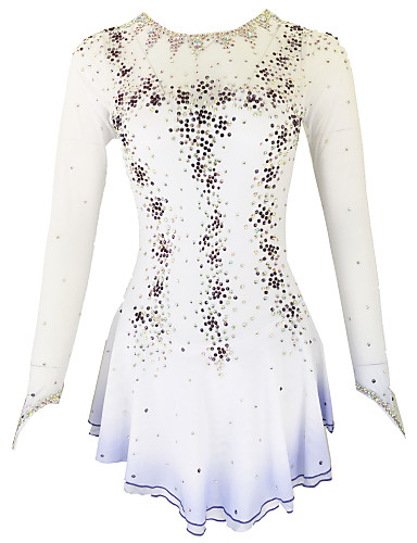 cheap Ice Skating-21Grams Figure Skating Dress Women's Girls' Ice Skating Dress Yan pink Violet Yellow & Yellow Open Back Spandex Stretch Yarn High Elasticity Training Skating Wear Solid Colored Classic Crystal