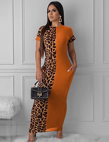 levne Maxi šaty-Dámské Pouzdro Šaty - Leopard Maxi
