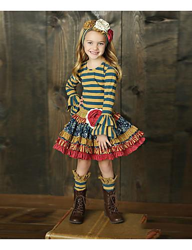 billige Forhåndsalg-Barn Jente Grunnleggende Stripet Langermet Tøysett Regnbue