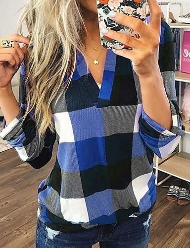 billige Dametopper-Skjorte Dame - Rutet Grunnleggende Lyseblå