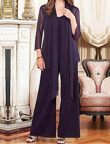 voordelige Wrap Dresses-Tweedelig / pantsuit Met sieraad Tot de grond Chiffon Bruidsmoederjurken met Drapering door LAN TING Express / Wrap inbegrepen