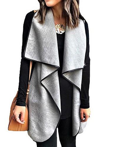 levne Dámské kabáty a trenčkoty-Dámské Denní Podzim zima Standardní Kabát, Barevné bloky Přehnutý Dlouhý rukáv Polyester Černá