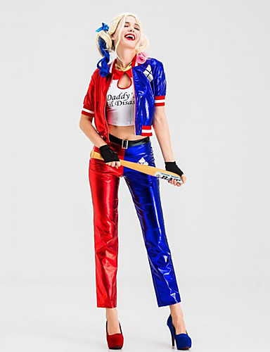 cheap Men's & Women's Halloween Costumes-Harley Quinn Pants Cosplay Costume Gloves Outfits Party Costume Adults' Women's Cosplay Halloween Halloween Festival / Holiday PU(Polyurethane) Blue Women's Easy Carnival Costumes / Coat / Top / Coat