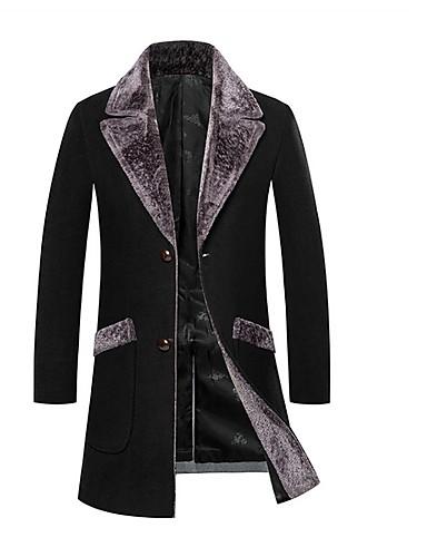 levne Pánské módní oblečení-Pánské Denní Standardní Kabát, Jednobarevné Polostojatý límec Dlouhý rukáv Polyester Černá / Světle šedá / Námořnická modř