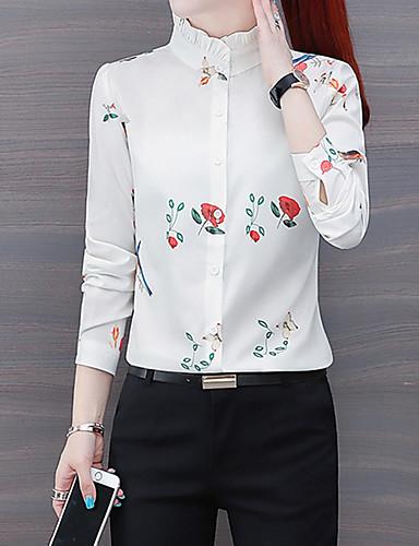 billige Dametopper-Skjorte Dame - Blomstret, Trykt mønster Hvit