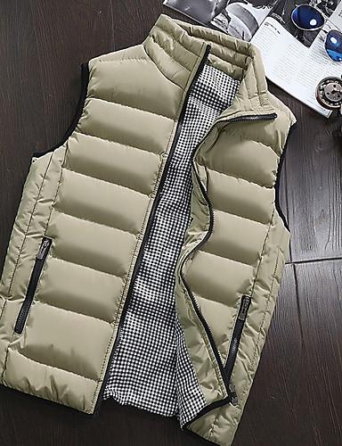 levne Pánské kabáty a parky-Pánské Jednobarevné Kamizelka, Polyester Černá / Fialová / Armádní zelená US32 / UK32 / EU40 / US34 / UK34 / EU42