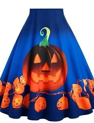 preiswerte Party & Anlässe-Damen Halloween Asymmetrisch A-Linie Röcke - Druck Schwarz Purpur Blau S M L