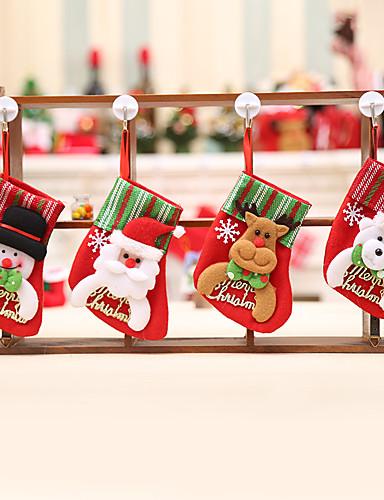 billige Julehengende dekorasjon-4stk kreative hengende julestrømper til boligdekorasjon / feriepynt nyttårsdag