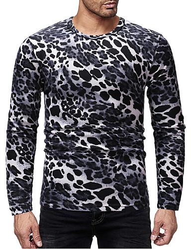 levne Pánská tílka-Pánské - Leopard Základní Tričko, Tisk Černá