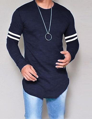 voordelige Heren T-shirts & tanktops-Heren T-shirt Gestreept Ronde hals Zwart / Lange mouw