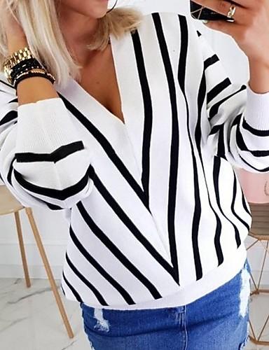 billige Dametopper-Dame Stripet Langermet Pullover Genserjumper, V-hals Svart / Hvit / Beige S / M / L
