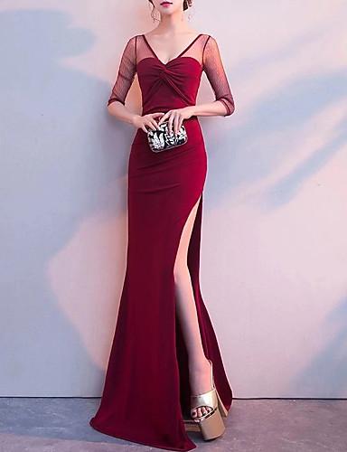 levne Maxi šaty-Dámské Elegantní Mořská panna Šaty - Jednobarevné, Nabírané šaty Rozparek Patchwork Maxi