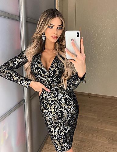 Жен. Оболочка Платье - Цветочный принт Средней длины