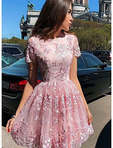 Жен. Элегантный стиль А-силуэт Платье - Цветочный принт Выше колена