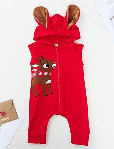 preiswerte Kindermode-Baby Mädchen Grundlegend Druck / Weihnachten Ärmellos Baumwolle Einzelteil Rote