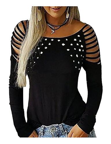 billige T-skjorter til damer-Store størrelser T-skjorte Dame - Ensfarget Svart