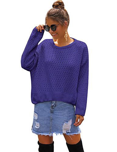 billige Dametopper-Dame Ensfarget Langermet Oversized Pullover Genserjumper, Besmykket Høst / Vinter Hvit / Blå / Kakifarget S / M / L