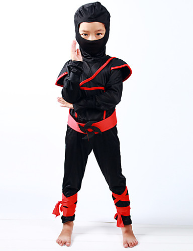 preiswerte Spielzeug & Hobby Artikel-Ninja Haloween Figuren Kinder Jungen Halloween Halloween Fest / Feiertage Gestrickt Schwarz Karneval Kostüme