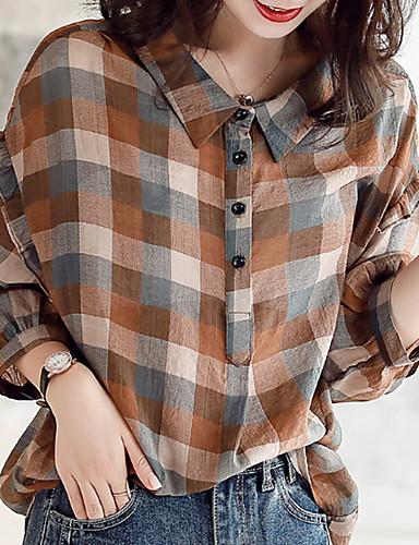 billige Skjorter til damer-Skjorte Dame - Ruter Kamel