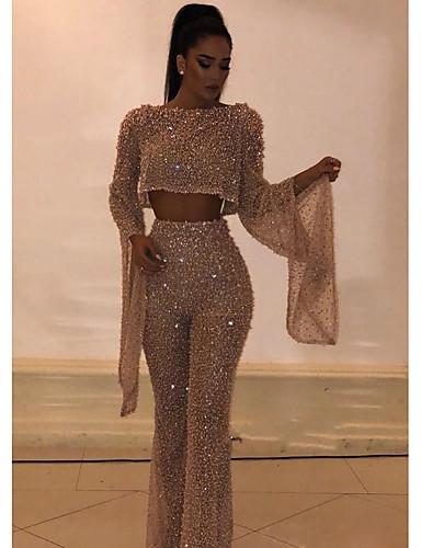 hesapli Kadın Üst Giyim-Kadın's Altın Tulumlar, Solid Payetler S M L