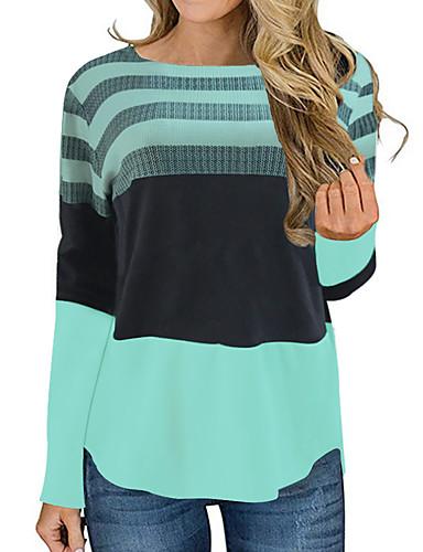 billige T-skjorter til damer-T-skjorte Dame - Stripet, Trykt mønster Grunnleggende Vin