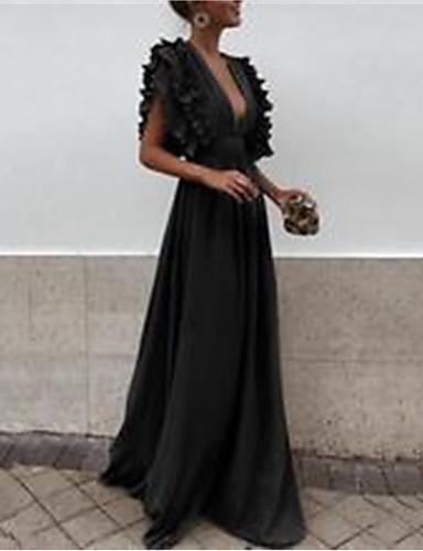 voordelige Maxi-jurken-Dames Standaard Schede Wijd uitlopend Jurk - Effen, Met ruches Patchwork Maxi Zwart Wit Blauw