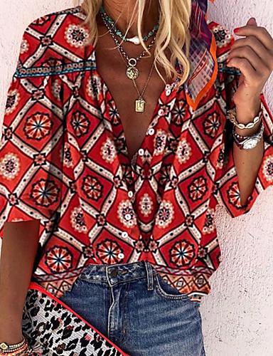 billige Skjorter til damer-V-hals Skjorte Dame - Geometrisk Rød