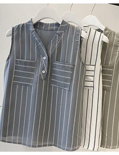 povoljno Ženske majice-Bluza Žene - Osnovni Dnevno Prugasti uzorak Kolaž Blue & White / Crno-bijela Obala