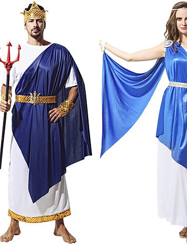 preiswerte Herrenbekleidung-Romanische Kostüme Cosplay Kostüme Austattungen Erwachsene Paar Cosplay Halloween Halloween Fest / Feiertage Polyester Weiß / Blau Paar Karneval Kostüme