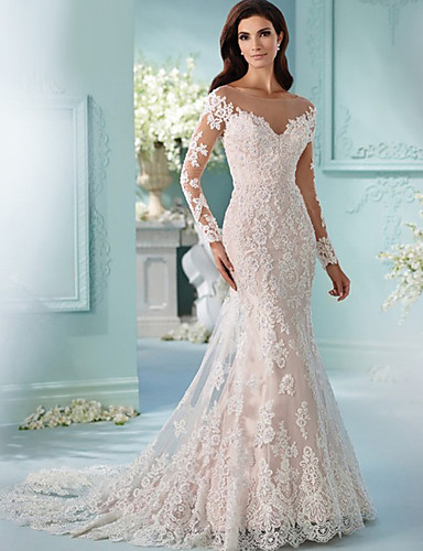 cheap Wedding Dresses-Mermaid / Trumpet Scoop Neck Chapel Train Lace / Tulle / Lace Over Satin Long Sleeve Formal Sexy / Beautiful Back / Illusion Sleeve Wedding Dresses with Appliques 2020