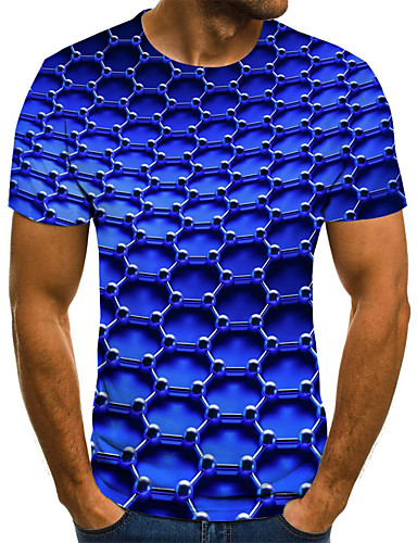 Men's Weekend Street chic Plus Size T-shirt - Geometric / 3D / Graphic Pleated / Print Round Neck Blue / Short Sleeve