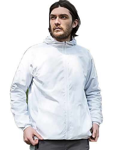 cheap Softshell, Fleece & Hiking Jackets-Men's Women's Hiking Windbreaker Rain Jacket Hiking Skin Jacket Outdoor Spring Summer Lightweight Windproof Sunscreen UV Resistant Jacket Hoodie Top Camping / Hiking Climbing Cycling / Bike Yellow