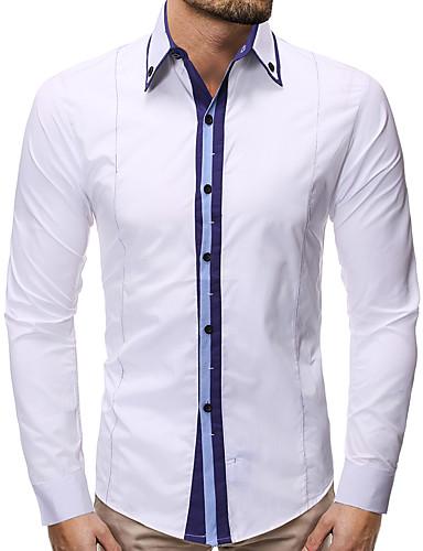 voordelige Herenoverhemden-Heren Zakelijk Overhemd Kleurenblok Zwart