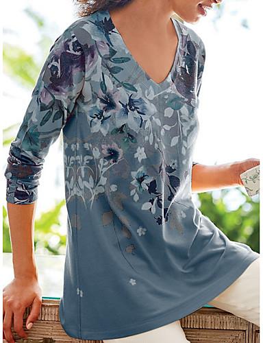 billige T-skjorter til damer-T-skjorte Dame - Blomstret Lilla