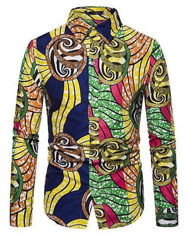 levne Pánské košile-Pánské - Jednobarevné / Písmeno Cikánský / Elegantní Košile, Tisk Duhová