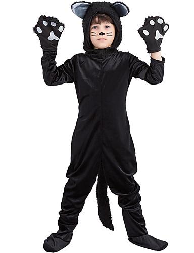 preiswerte Spielzeug & Hobby Artikel-Katze Haloween Figuren Kinder Jungen Halloween Halloween Fest / Feiertage Gestrickt Schwarz Karneval Kostüme / Gymnastikanzug / Einteiler / Handschuhe