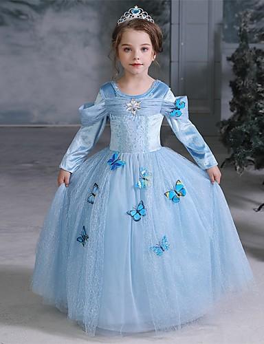 povoljno Maske i kostimi-Cinderella Fairytale Princeza Haljine Djevojčice Filmski Cosplay Halloween Božić Plava Halloween