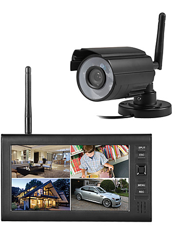 "cheap Security & Safety-Wireless 4CH Quad DVR 1 Cameras PAL 628x582 NTSC 510x492 with 7"" 800x480 TFT-LCD Monitor Home Security System PAL NTSC Built in Mic"